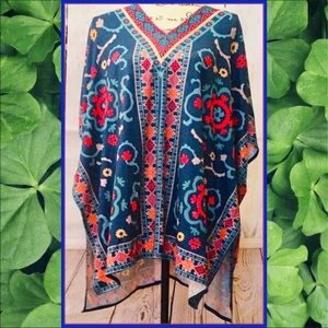 NEW Tribal Ethnic Vibrant Print Blouse Top Size M